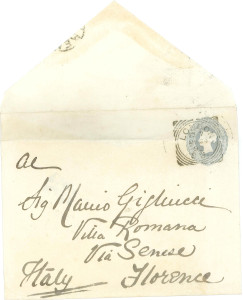 A letter sent to Mario Gigliucci at the Villa Romana (late 1800s). Source: Villa Rossa Archive