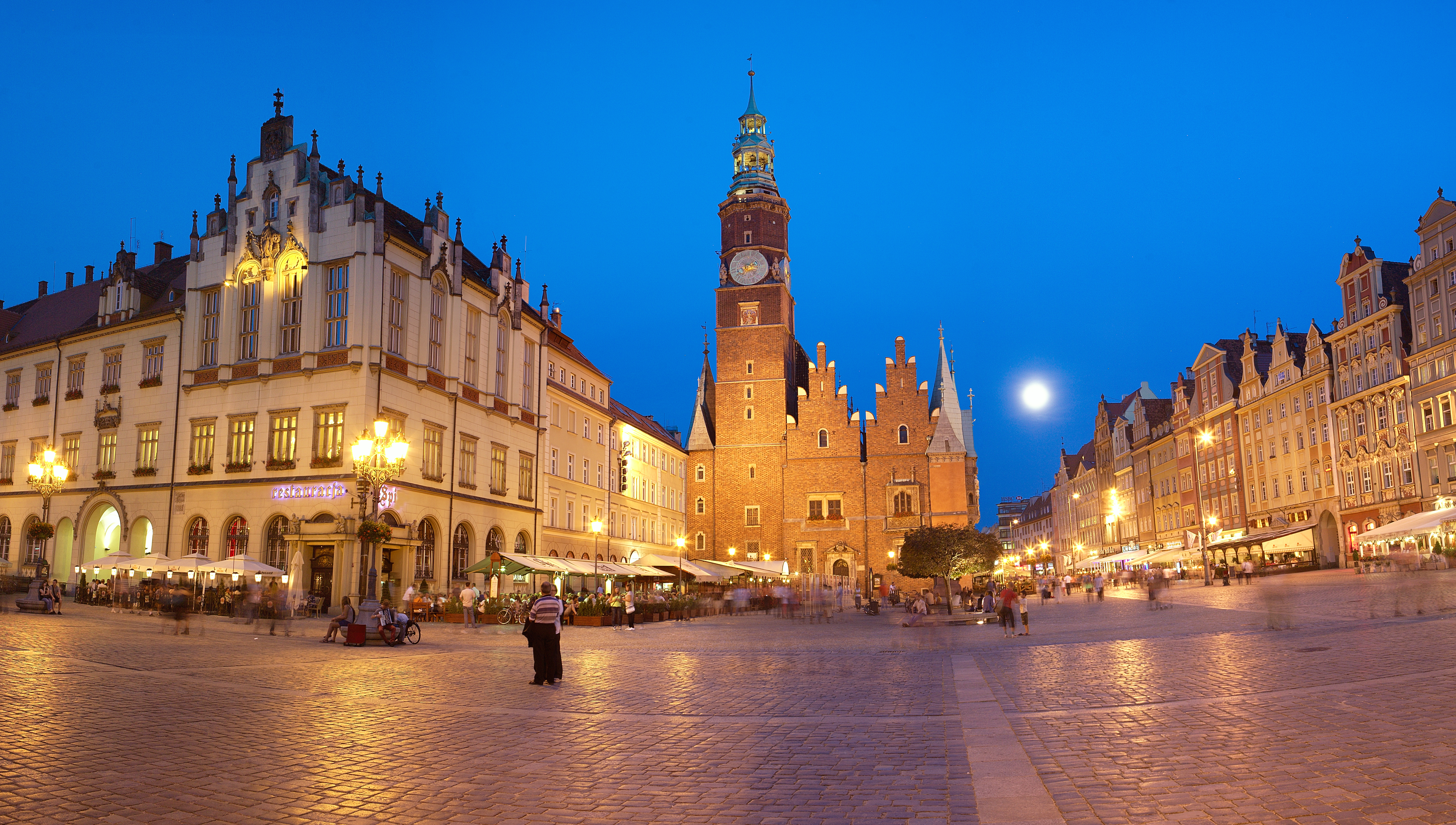 The market square at night time in Wroclaw, Poland.