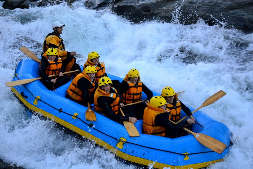 Students white water rafting in Australia