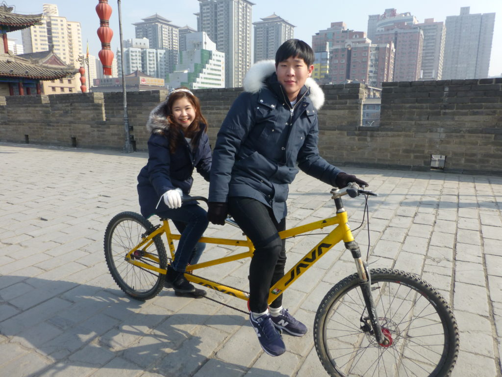 Students on a bike in Xi'an