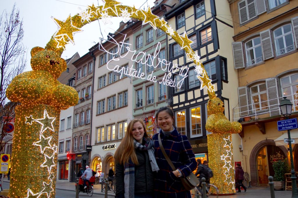 Students in Strasbourg Christmas market