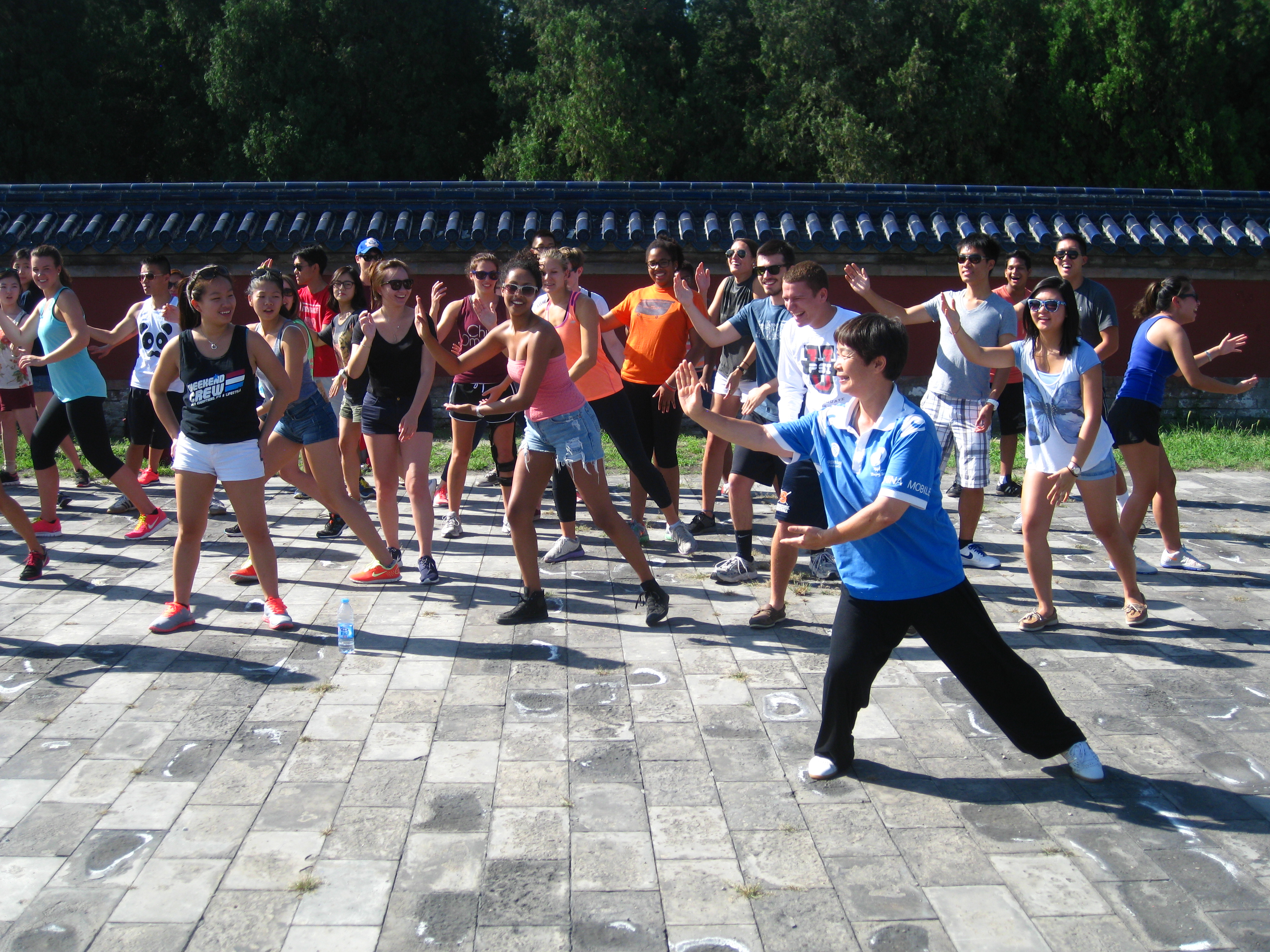 Students practicing martial arts