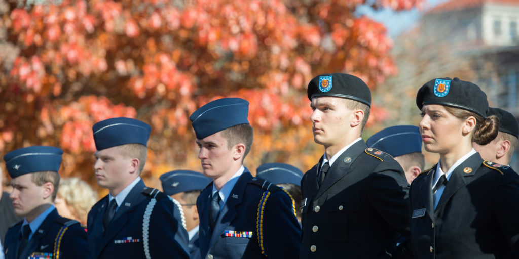 Students in military garb