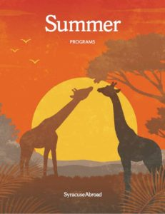 Cover illustration depicting an African scene with giraffe.