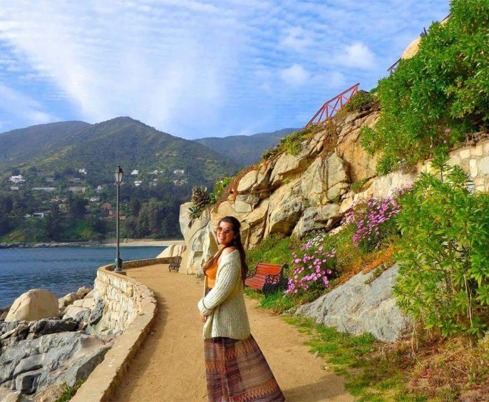 Student along Chilean coast